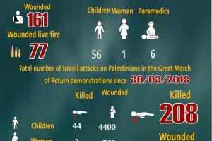 Total Number of Casualties on Gaza Demonstrations, 23 August 2019