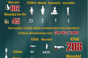 Total Number of Casualties on Gaza Demonstrations, 30 August 2019